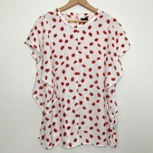 Worthington blouse red flower XL